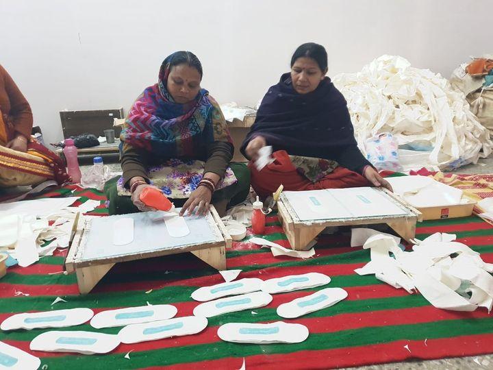 Women manufacturing sanitary napkins under 'Stree Swabhiman' project in village Jamsher in Punjab.