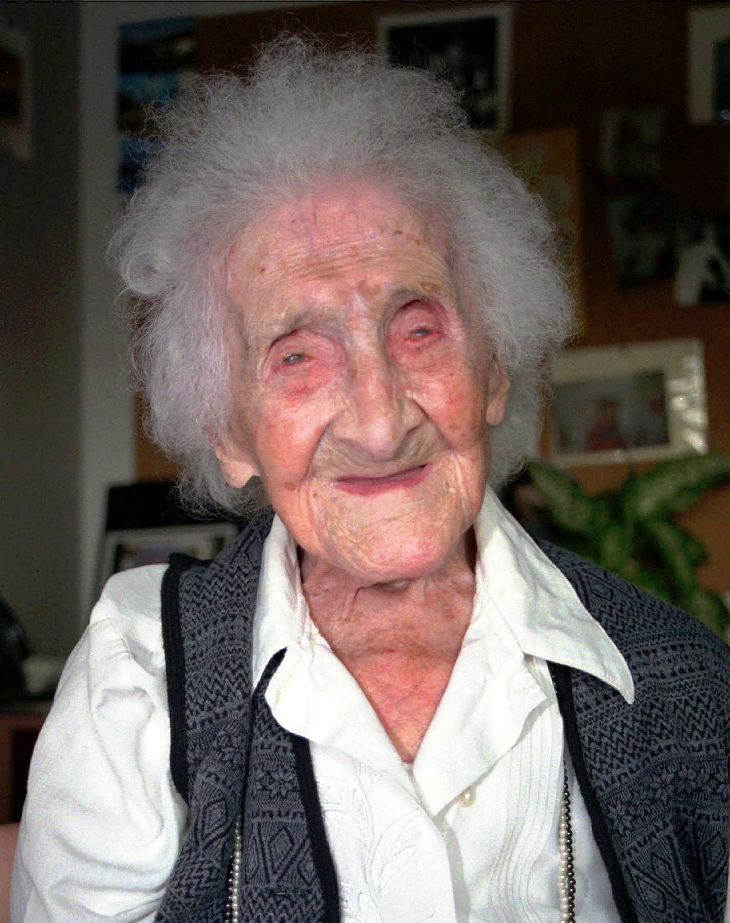 FILE - This Feb. 12, 1996 file photo shows Jeanne Calment in Arles, France. Believed to be the world's oldest person, she died at the age of 122 in 1997. New research published in the journal Nature on Wednesday, Oct. 5, 2016 suggests there's a limit to our life span and that the odds of breaking Calment's record are small. (AP Photo/File)