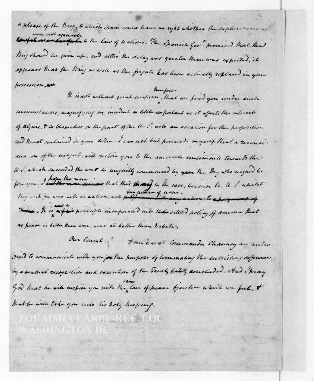 La fameuse lettre du président Madison au Dey