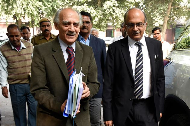 This file photo shows former BJP leader Arun Shourie (Left) and activist lawyer Prashant Bhushan (Right)...
