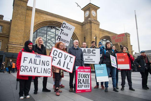 Labour leader Jeremy Corbyn joined protestors outside King's Cross Station