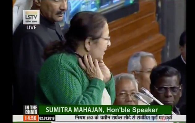 Watch: Sumitra Mahajan Scolding Opposition MPs For Flying Paper Planes During Heated Rafale Debate In...