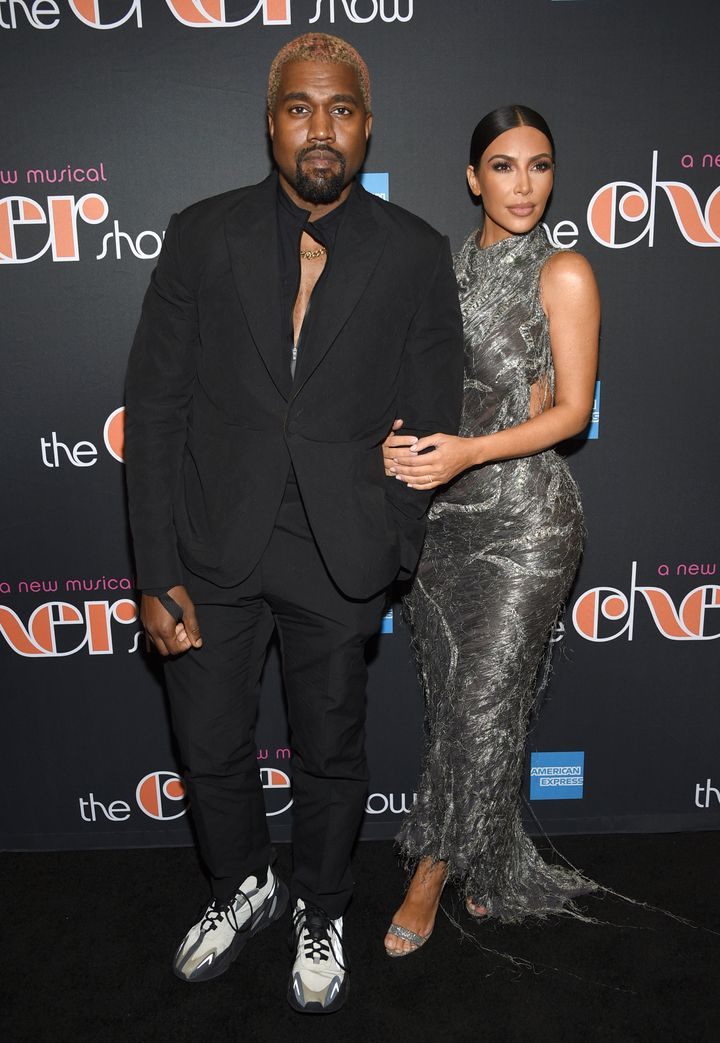 "Kanye West and Kim Kardashian attend the opening night of ""The Cher Show"" in December."