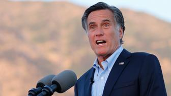 FILE--In this June 26, 2018, file photo, Mitt Romney, former GOP presidential nominee, addresses supporters at during an election night party in Orem, Utah. Romney is expected to be in Arizona Friday, Oct. 12, 2018 to stump for GOP Senate candidate Martha McSally. (AP Photo/Rick Bowmer, file)