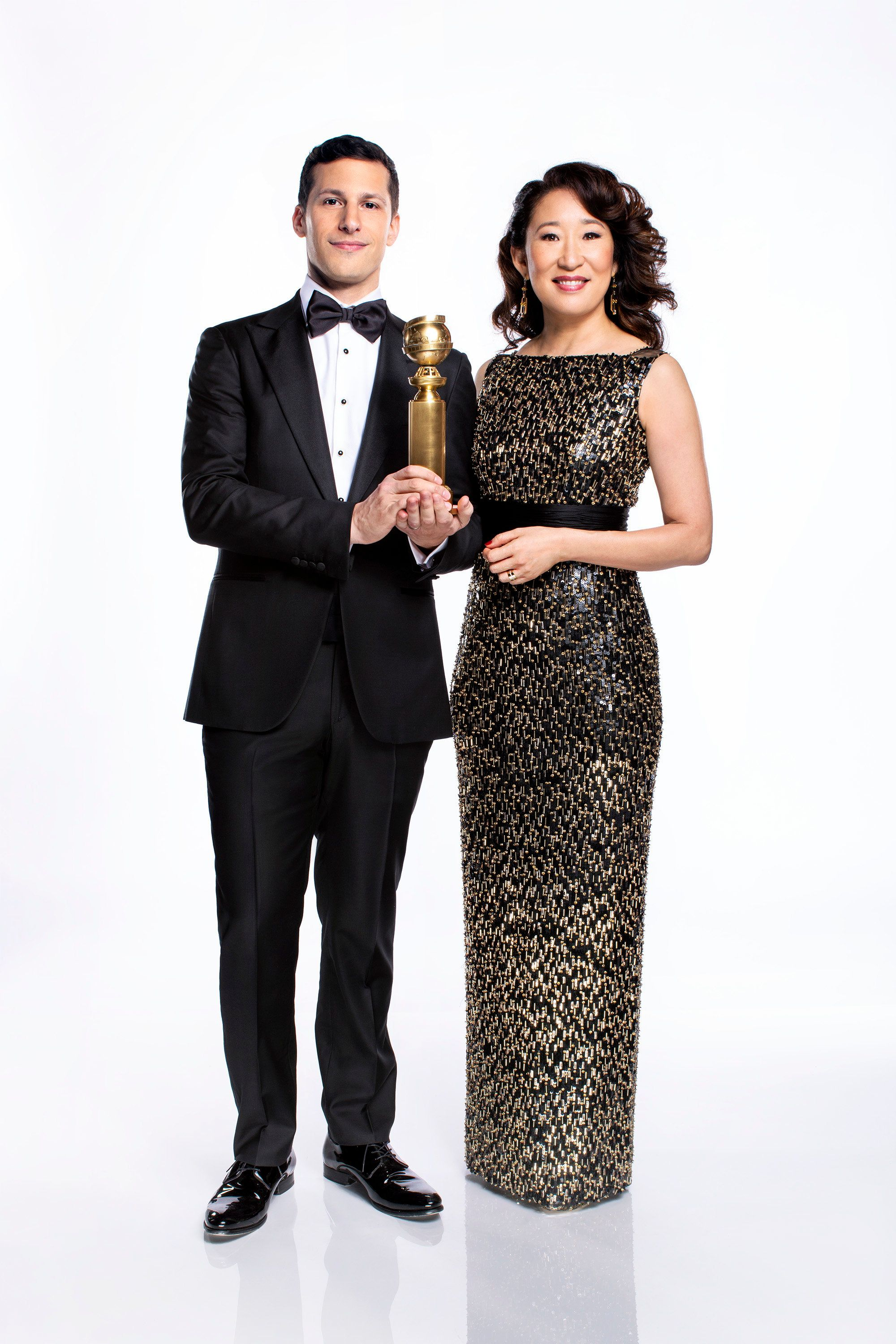 Golden Globes co-hosts Andy Samberg and Sandra Oh don't plan to focus on politics during the