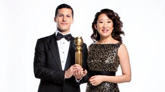THE GOLDEN GLOBE AWARDS -- Andy Samberg & Sandra Oh -- Pictured: (l-r) Andy Samberg, Sandra Oh -- (Photo by: Trae Patton/NBC/NBCU Photo Bank via Getty Images)