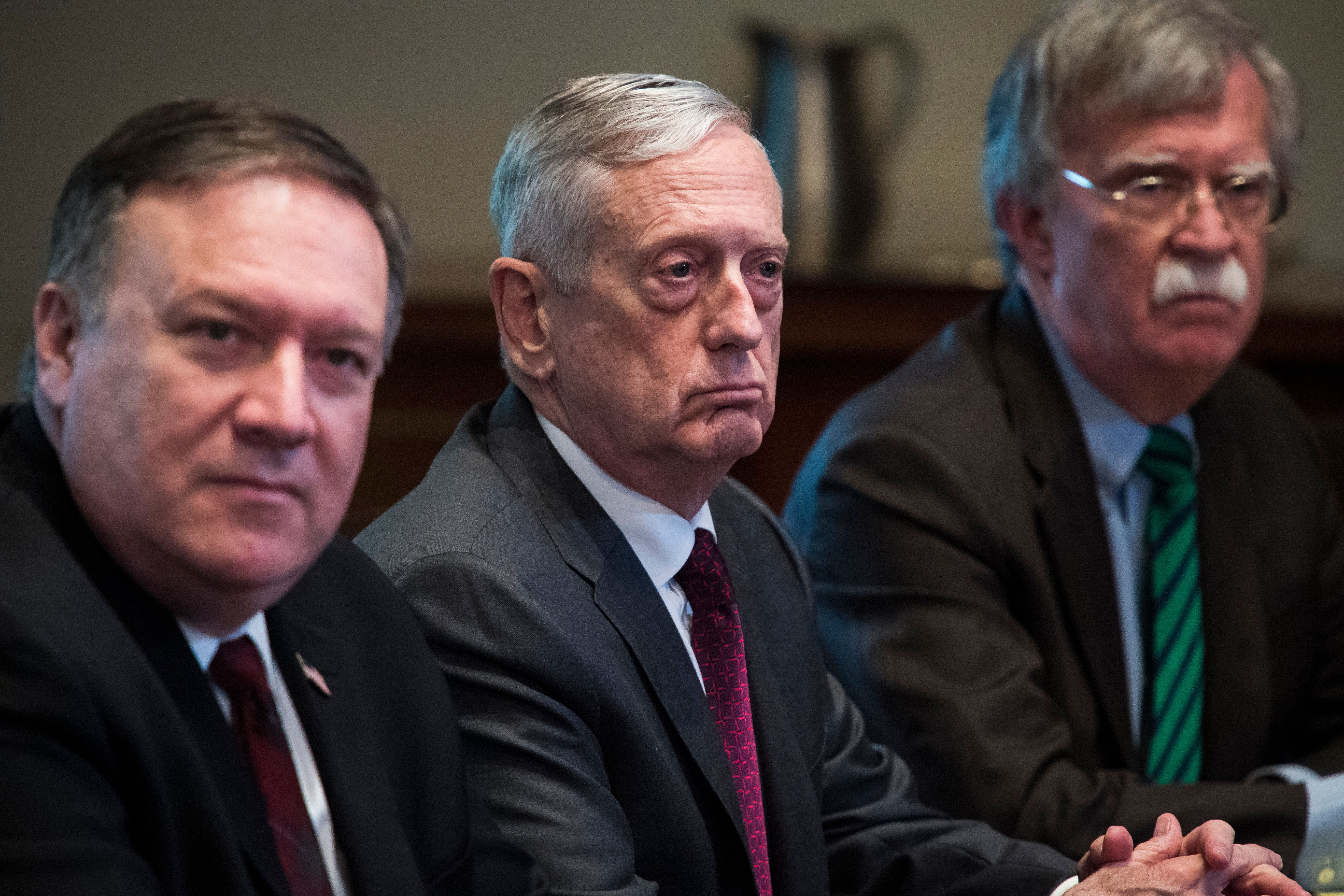 Former Secretary of Defense Jim Mattis worked to constrain Trump's whims, while Secretary of State Mike Pompeo catered