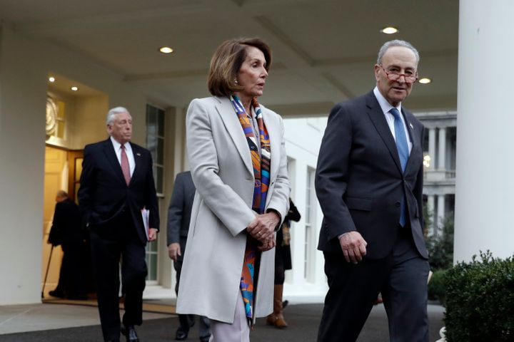 House Democratic leader Nancy Pelosi and Senate Minority Leader Chuck Schumer leave a White House meeting Wednesday with Pres