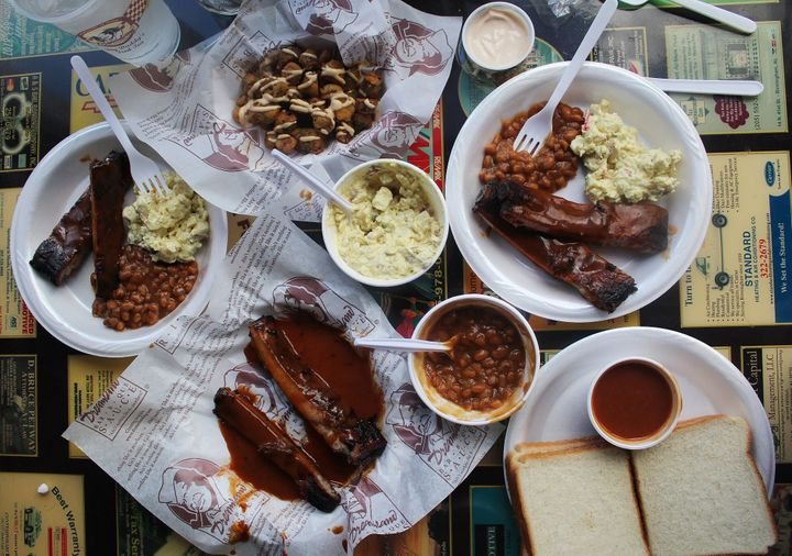 A BBQ spread at Dreamland in Birmingham, Alabama, one of the stops on Chop't's search for Southern food inspiration.