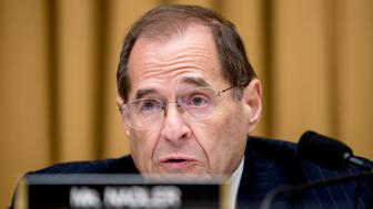 Ranking member Rep. Jerrold Nadler, D-N.Y., speaks during a House Judiciary Committee hearing with Deputy Attorney General Rod Rosenstein and FBI Director Christopher Wray on Capitol Hill in Washington, Thursday, June 28, 2018, on Justice Department and FBI actions around the 2016 presidential election. (AP Photo/Andrew Harnik)