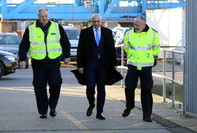 Home Secretary Sajid Javid meets Border Force staff at Dover