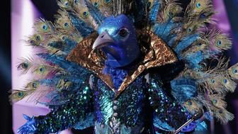 "Peacock performs on ""The Masked Singer."""