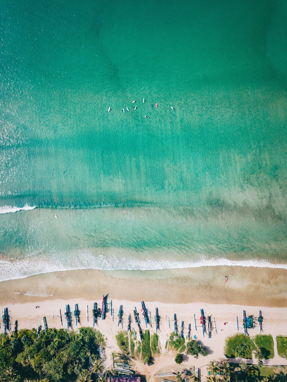 Drone images of Weligama beach in southern Sri