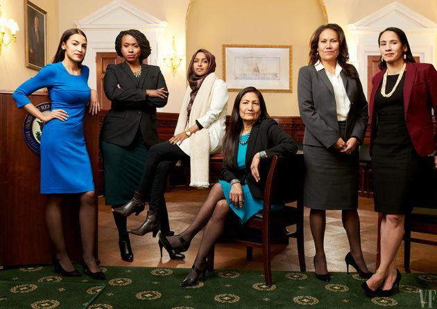 지난 중간선거에서 새로 뽑힌 미국 여성 하원의원들. 알렉산드리아 오카시오-코르테즈, 아야나 프레슬리, 일한 오마르, 데브라 할랜드, 베로니카 에스코바르, 셔리스 데이비스.