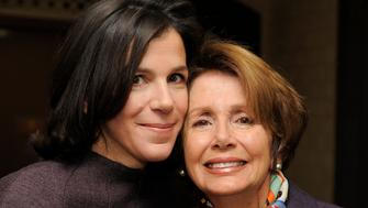 "Alexandra Pelosi, left, director of HBO Documentary Films' ""Fall to Grace,"" poses with her mother Nancy Pelosi, Minority Leader of the U.S. House of Representatives, before a screening of the film at the 2013 Sundance Film Festival, Friday, Jan. 18, 2013, in Park City, Utah. (Photo by Chris Pizzello/Invision/AP)"