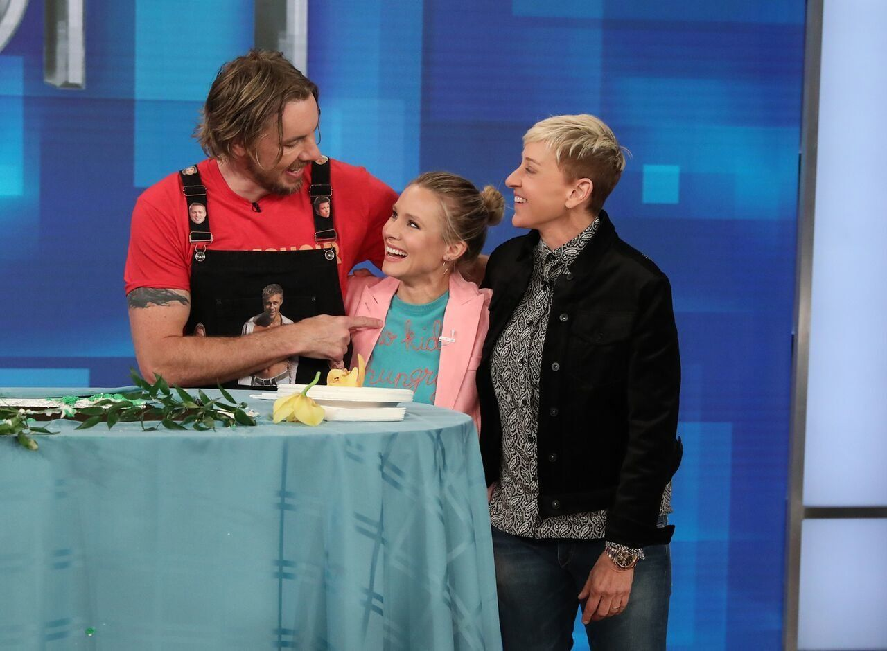 "Dax Shepard, Kristen Bell and Ellen DeGeneres on Thursday's episode of ""The Ellen DeGeneres Show."""