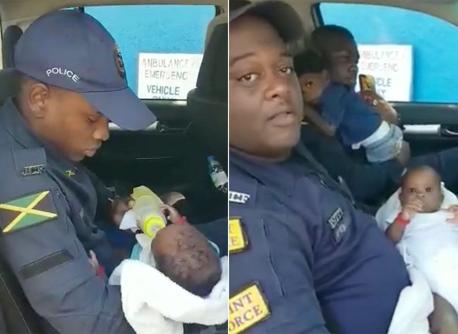 Selfless Police Officers Cared For Woman's Three Kids While She Took Her Child To