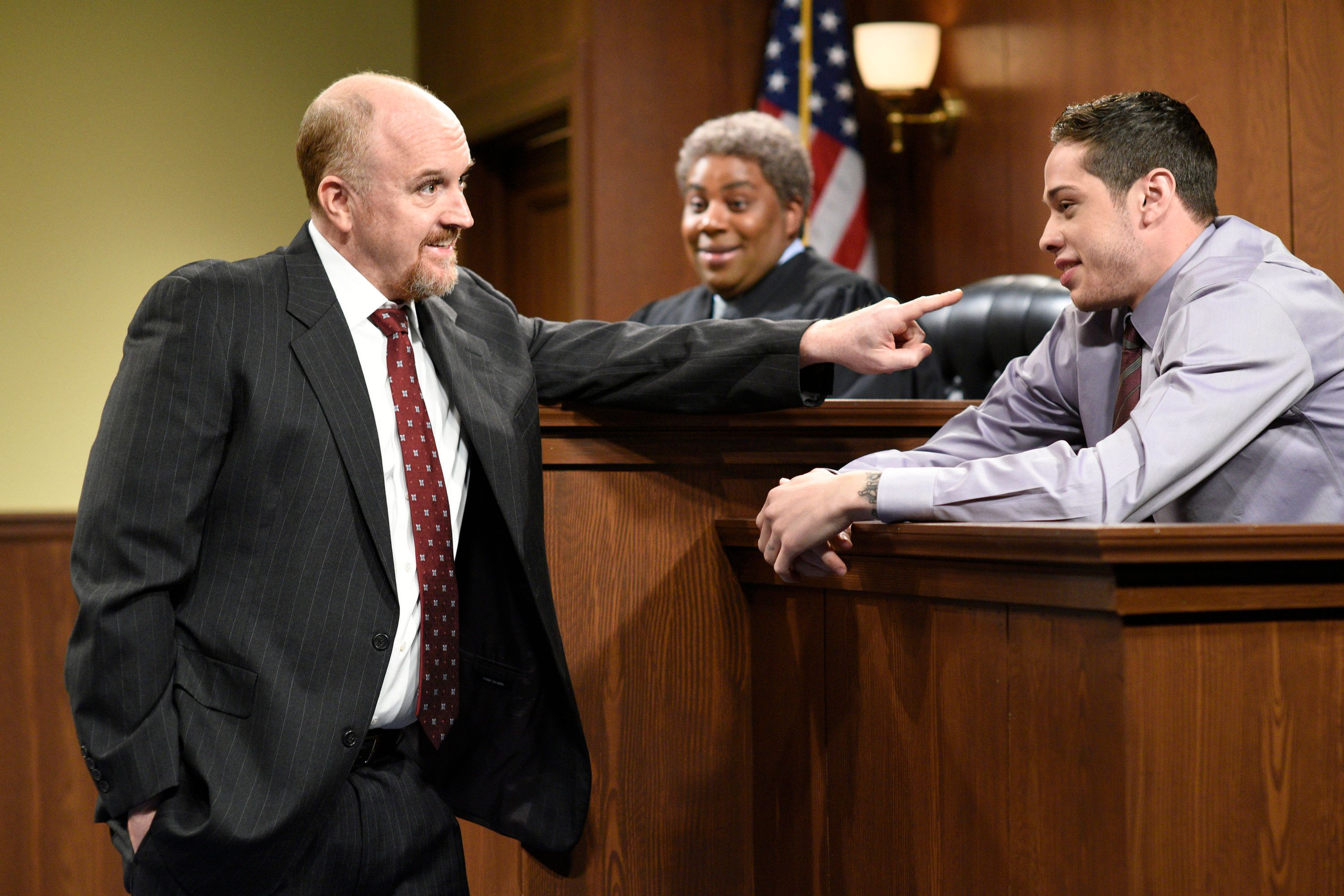 SATURDAY NIGHT LIVE -- 'Louis C.K.' Episode 1721 -- Pictured: (l-r) Host Louis C.K. as the Lawyer, Kenan Thompson as a judge, and Pete Davidson as a witness during 'The Lawyer' sketch on April 8, 2017 -- (Photo by: Will Heath/NBC/NBCU Photo Bank via Getty Images)
