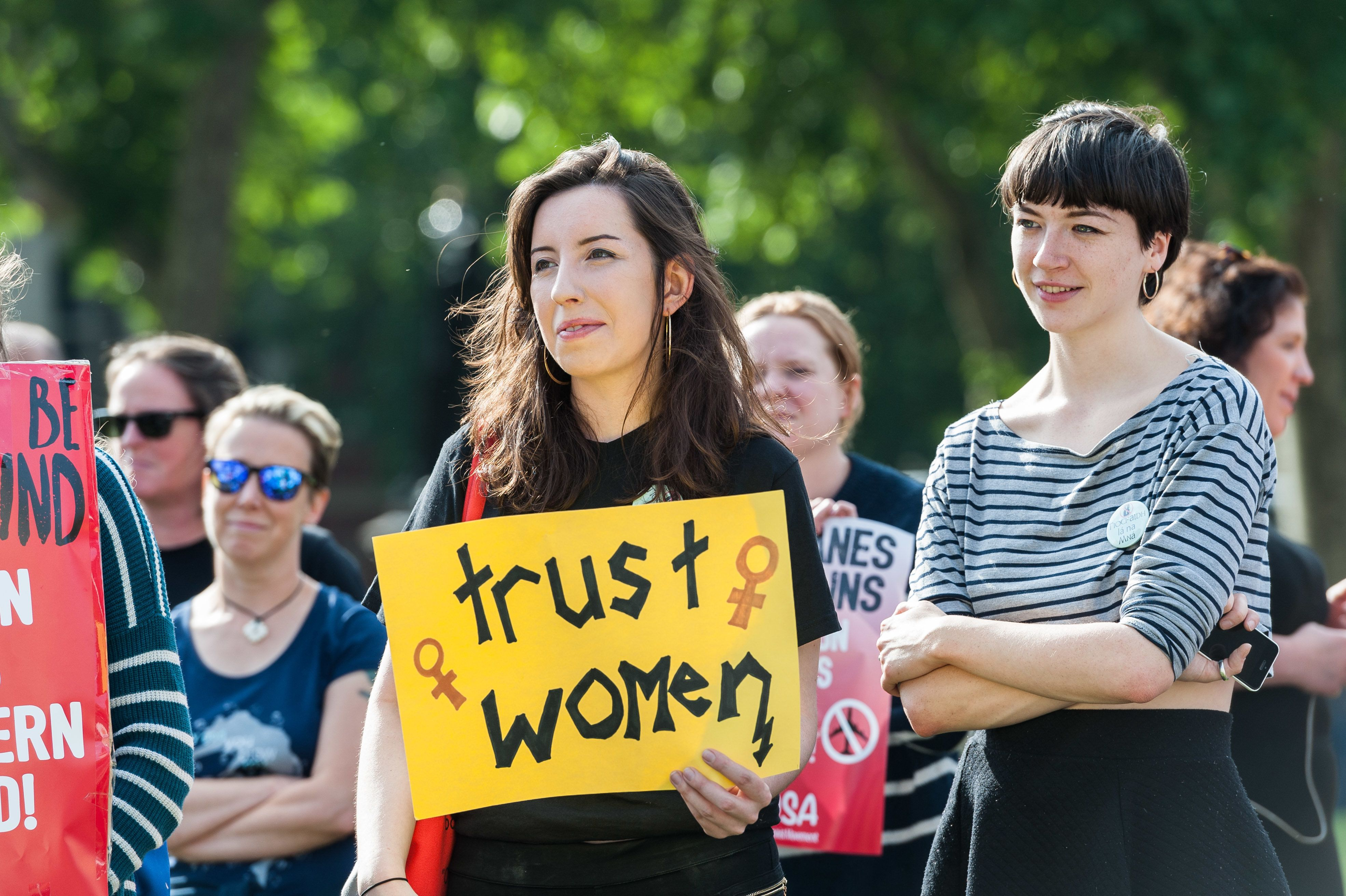Pro-choice campaigners stage a demonstration on June 5. 2018, in Parliament Square in London demanding...