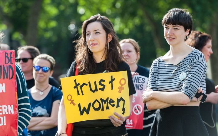 Pro-choice campaigners stage a demonstration on June 5. 2018, in Parliament Square in London demanding the British Government
