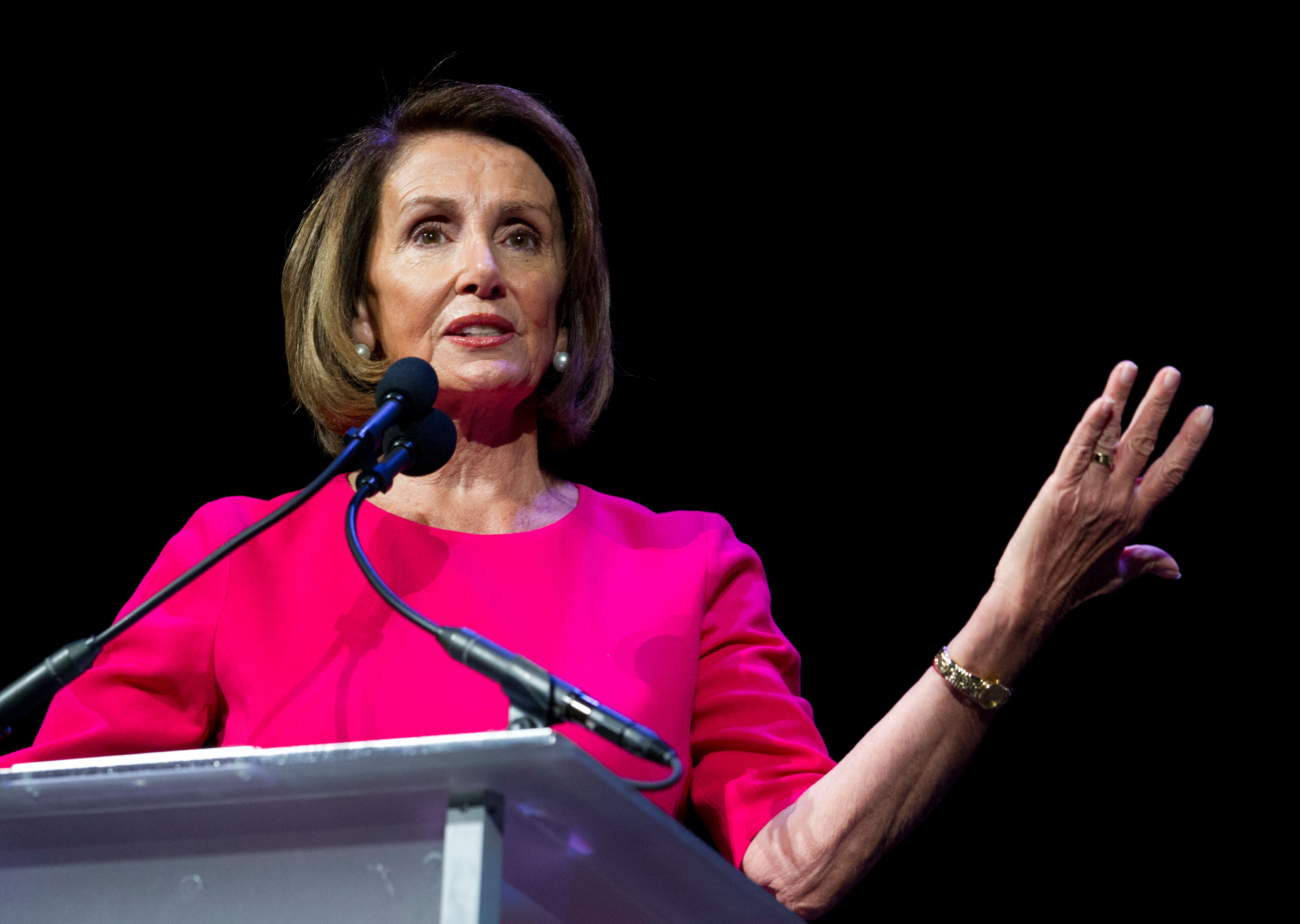 House Minority Leader Nancy Pelosi, D-Calif., speaks during Congressional Black Caucus member swearing-in ceremony of the 116th Congress at The Warner Theatre in Washington, Thursday, Jan. 3, 2019. (AP Photo/Jose Luis Magana)