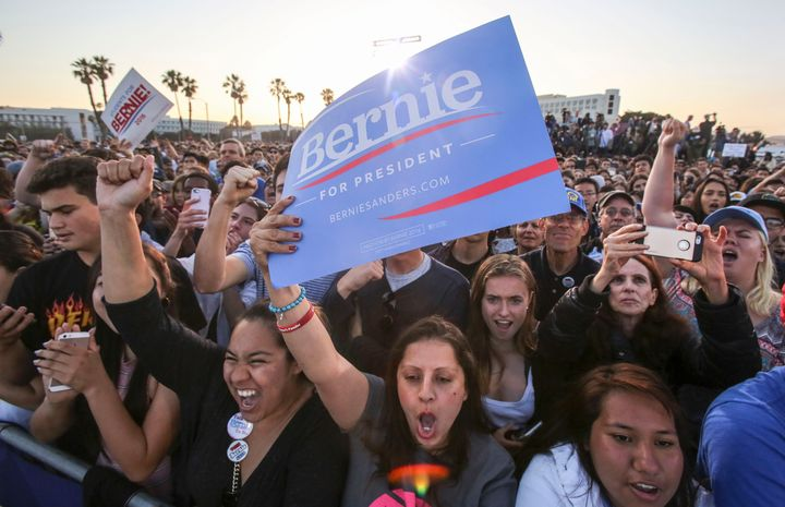 Sanders supporters attend a rally in Santa Monica, California, on May 23, 2016.
