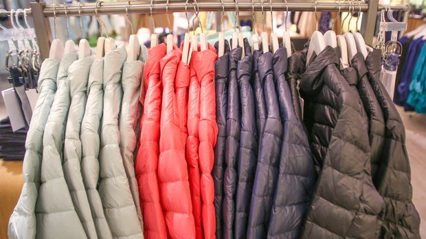 Padded Jackets on a Hangers in Store