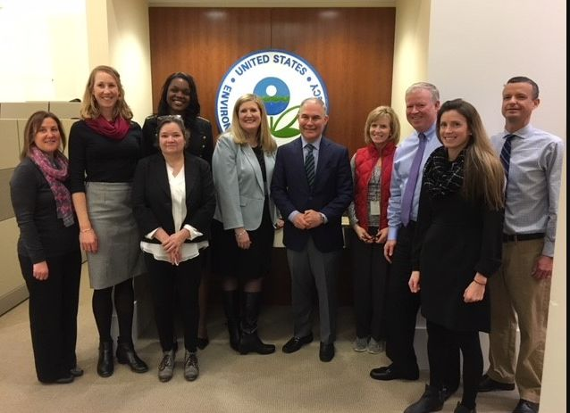 "Alexandra Dunn, in the center, stands with former EPA Administrator Scott Pruitt on a regional office <a href=""https://www.ep"