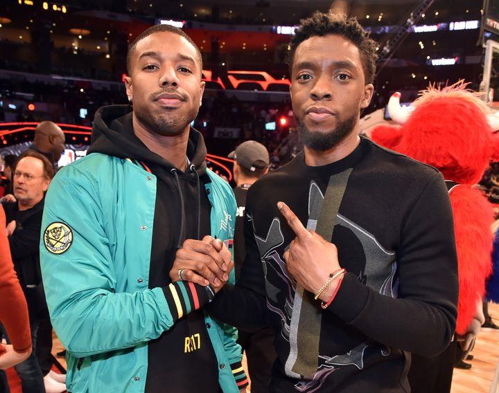 Michael B. Jordan and Chadwick Boseman in February 2018.