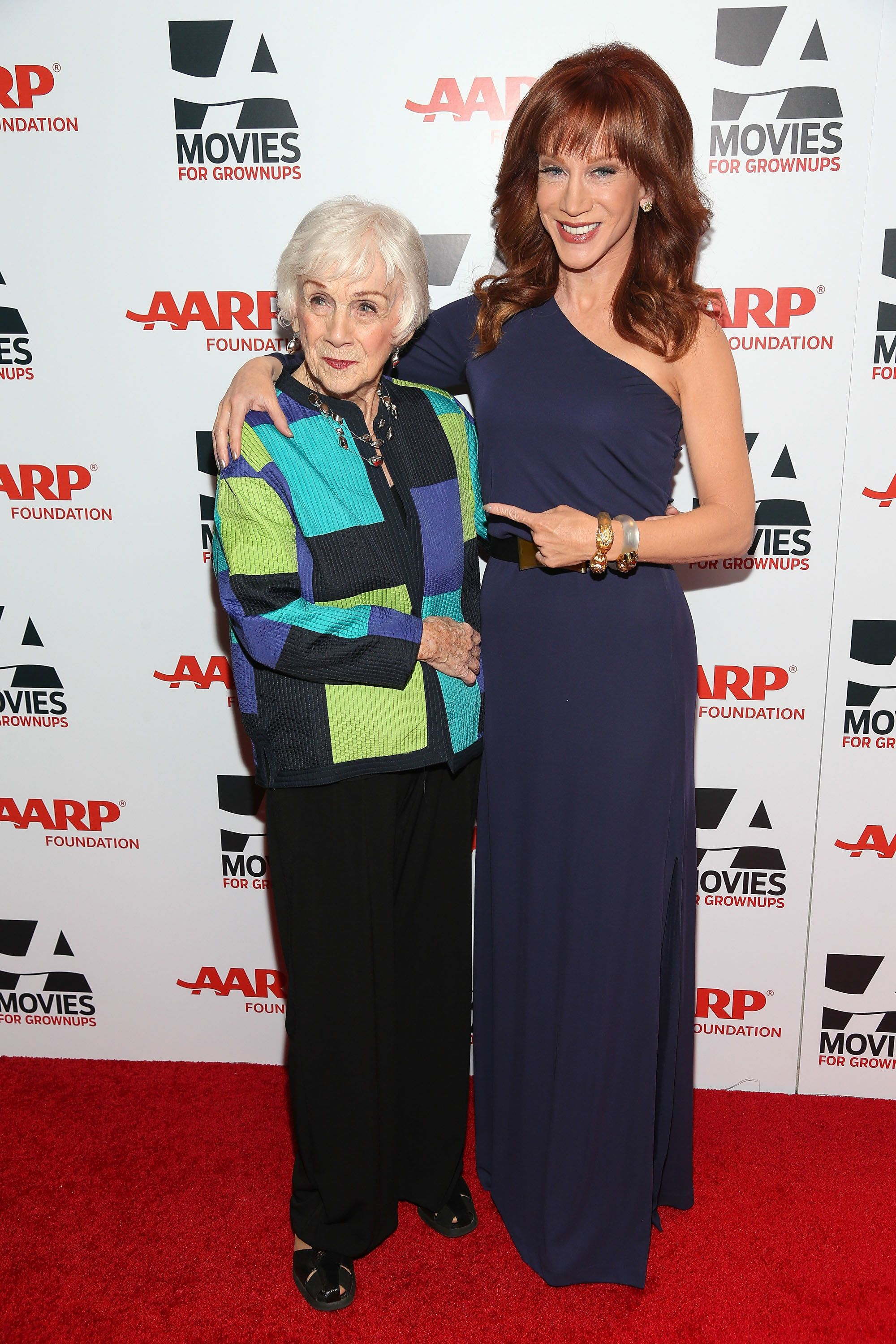 BEVERLY HILLS, CA - FEBRUARY 10:  Actress Kathy Griffin (R) and her mother, Maggie Griffin, attends the 13th Annual AARP's Movies For Grownups Awards Gala at Regent Beverly Wilshire Hotel on February 10, 2014 in Beverly Hills, California.  (Photo by Imeh Akpanudosen/Getty Images)