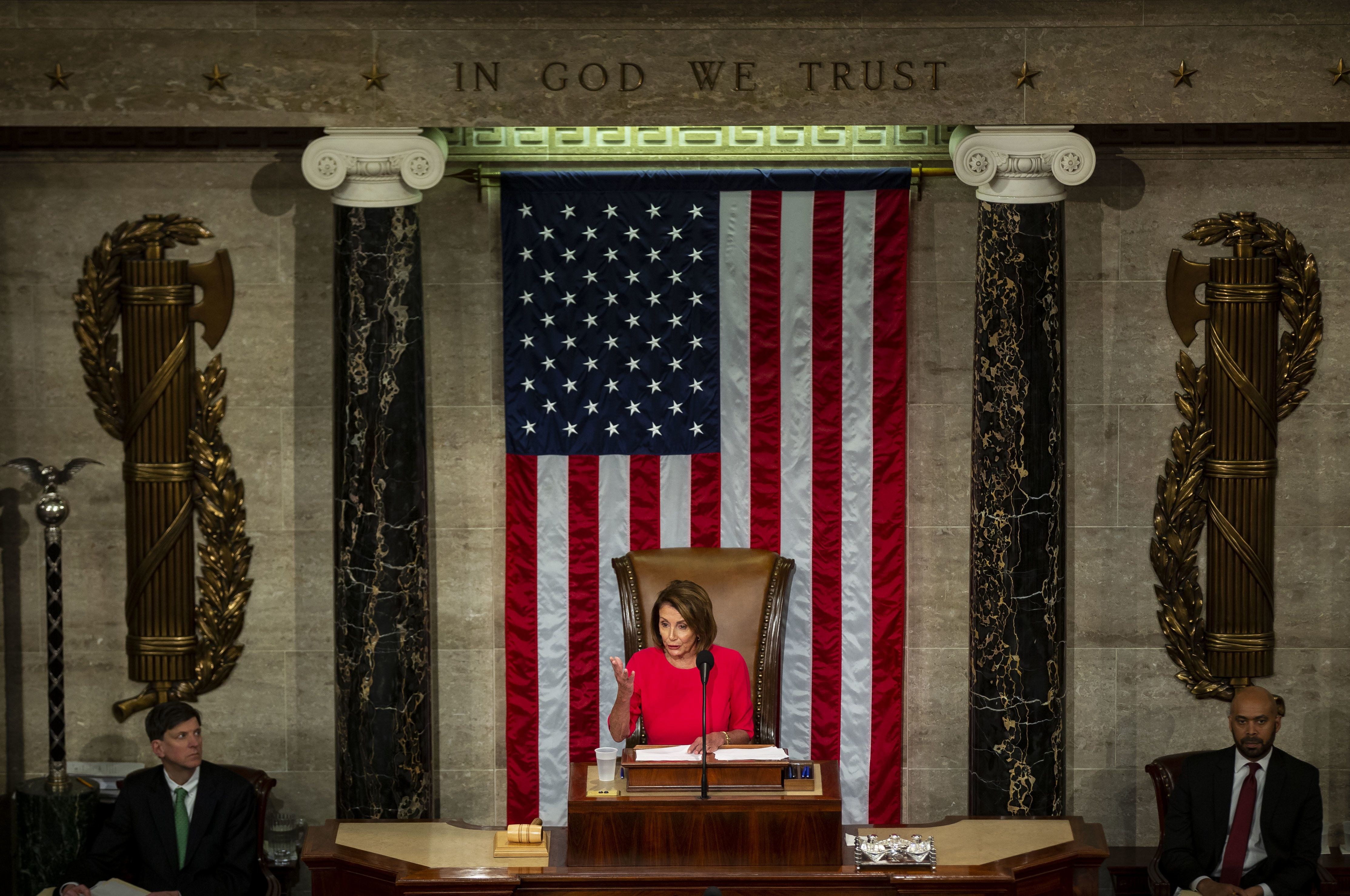 U.S. House Speaker Nancy Pelosi, a Democrat from California, speaks during the opening of the 116th Congress in the House Chamber in Washington, D.C., U.S., on Thursday, Jan. 3, 2019. Pelosiwas elected speaker of the House of Representatives in a triumphant return to the post as Democrats took power Thursday with the authority to investigate PresidentDonald Trumpand perhaps begin impeachment proceedings. Photographer: Al Drago/Bloomberg via Getty Images