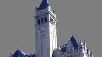 Clock tower of Old Post Office building, Washington, DC, graphic element on gray