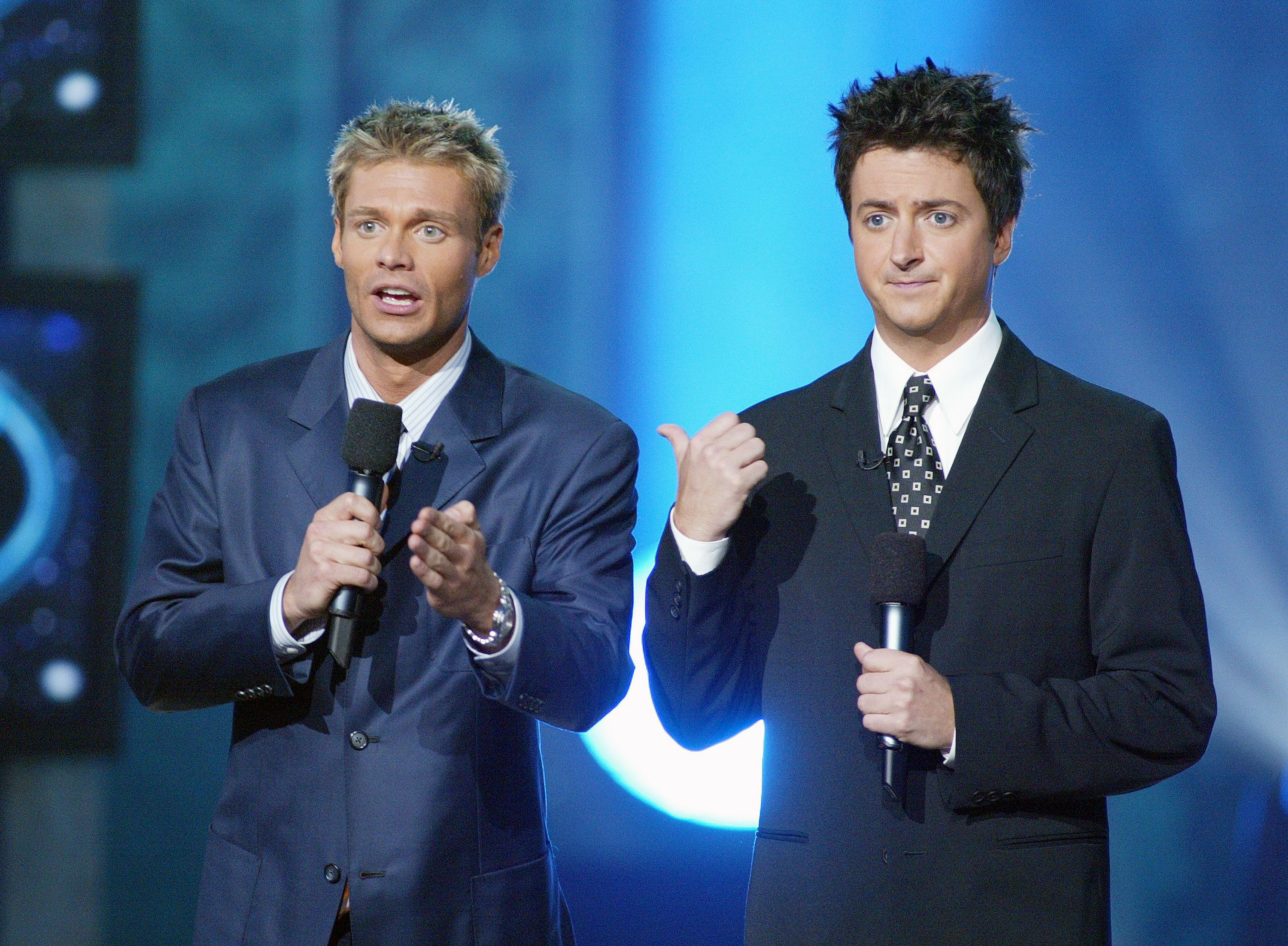 Ryan Seacrest and Brian Dunkleman at FOX-TV's 'American Idol' finale at the Kodak Theatre in Hollywood, Ca. Wednesday, Sept. 4, 2002. Photo  by Kevin Winter/ImageDirect