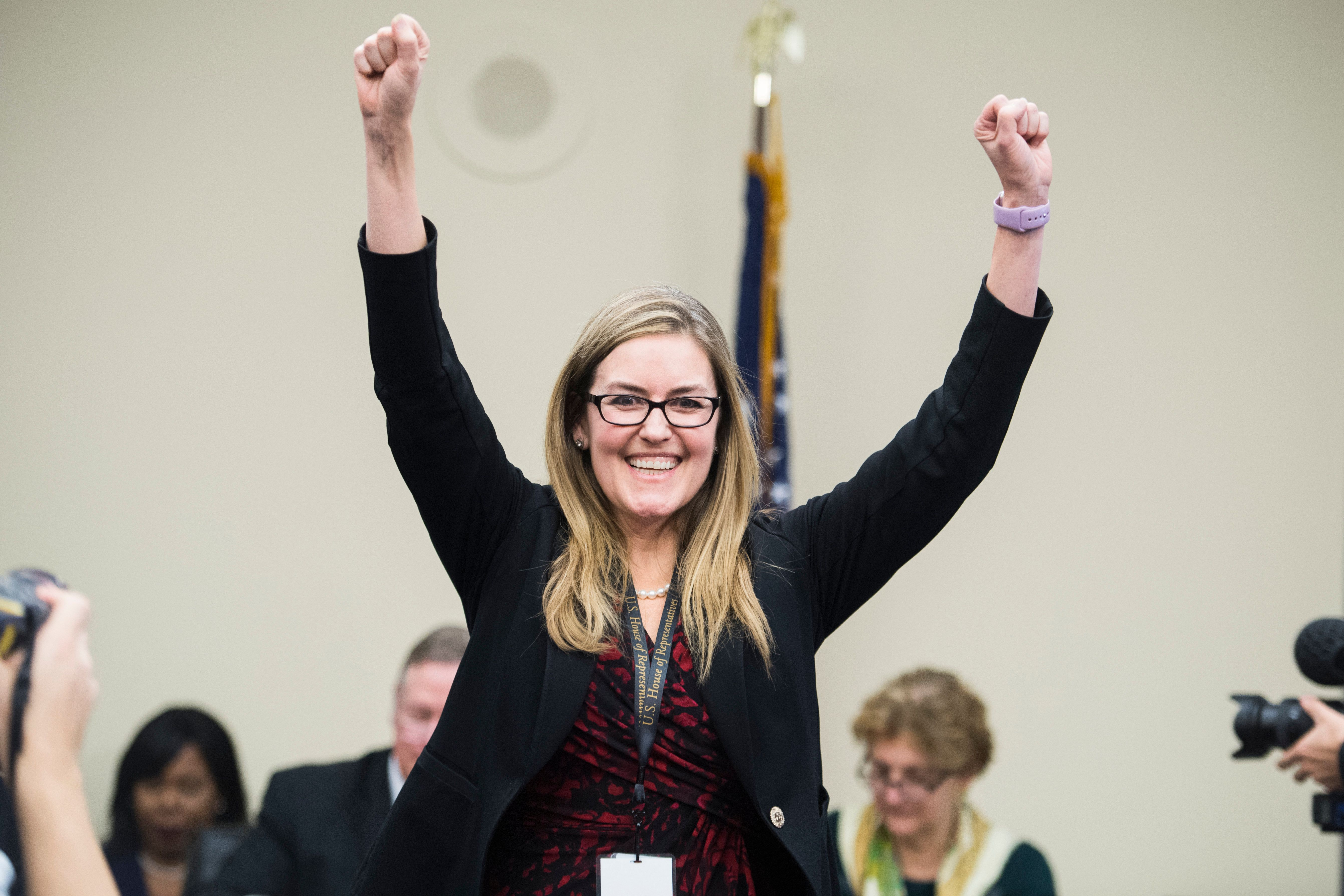 UNITED STATES - NOVEMBER 30: Rep.-elect Jennifer Wexton, D-Va., attends the new member room lottery draw for office space in Rayburn Building on November 30, 2018. (Photo By Tom Williams/CQ Roll Call)
