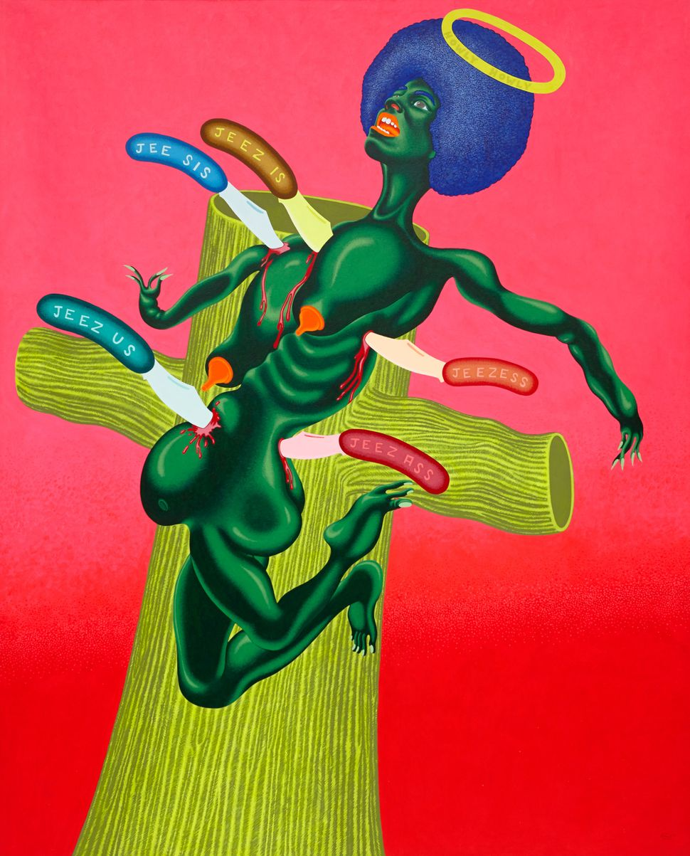 Crucifixion of Angela Davis, 1973  Acrylic on canvas  83 1⁄2 x 67 1⁄2 inches
