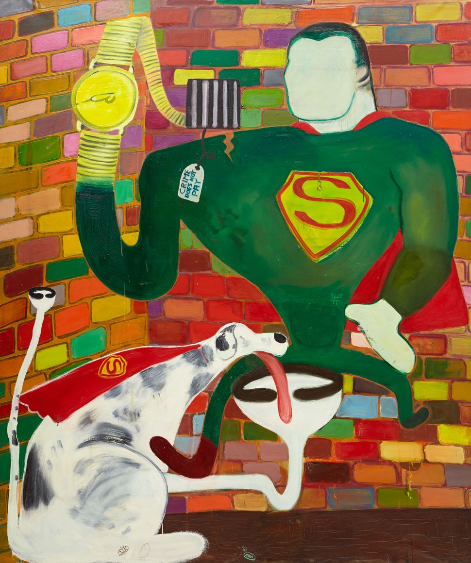 Superman and Superdog in Jail, 1963  Oil on canvas  75 x 63 inches
