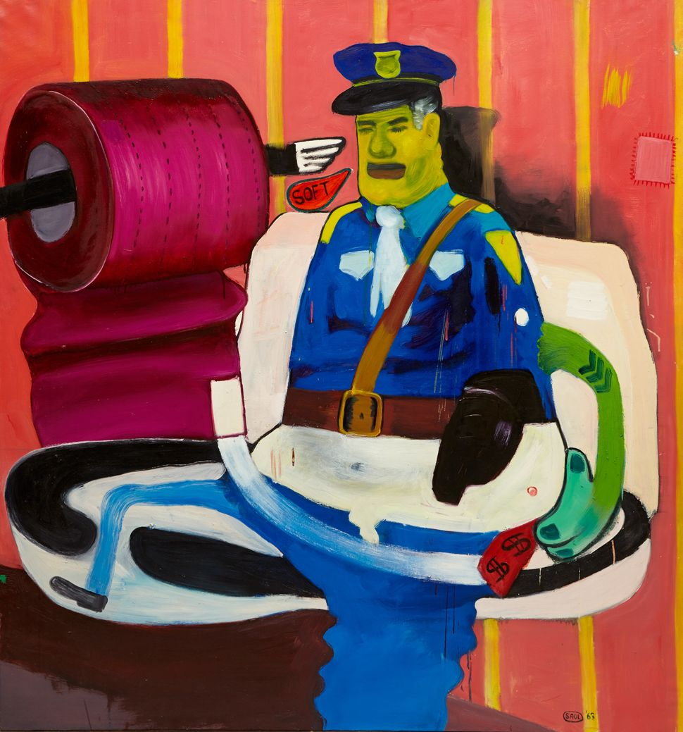 Policeman on the Toilet, 1963  Oil on canvas  63 x 59 inches