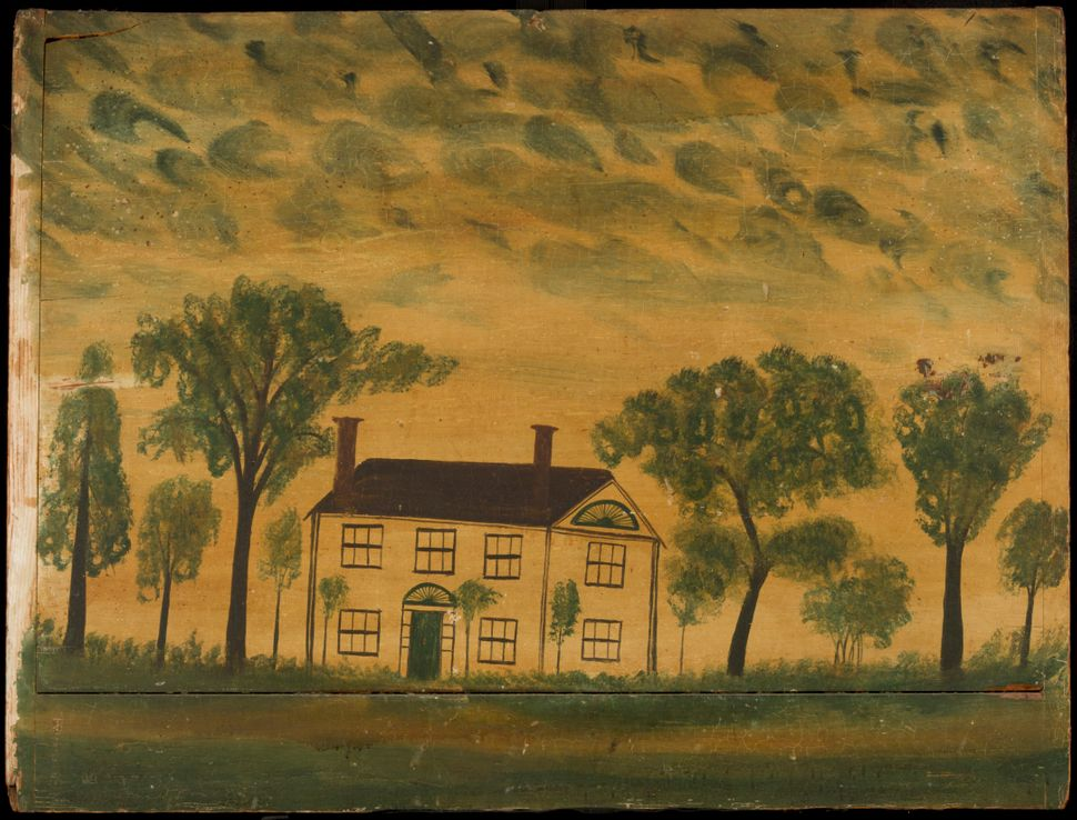 Overmantle of a House, about 1830 American , possibly Eastern New Hampshire Image: Courtesy of the Worcester Art Museum
