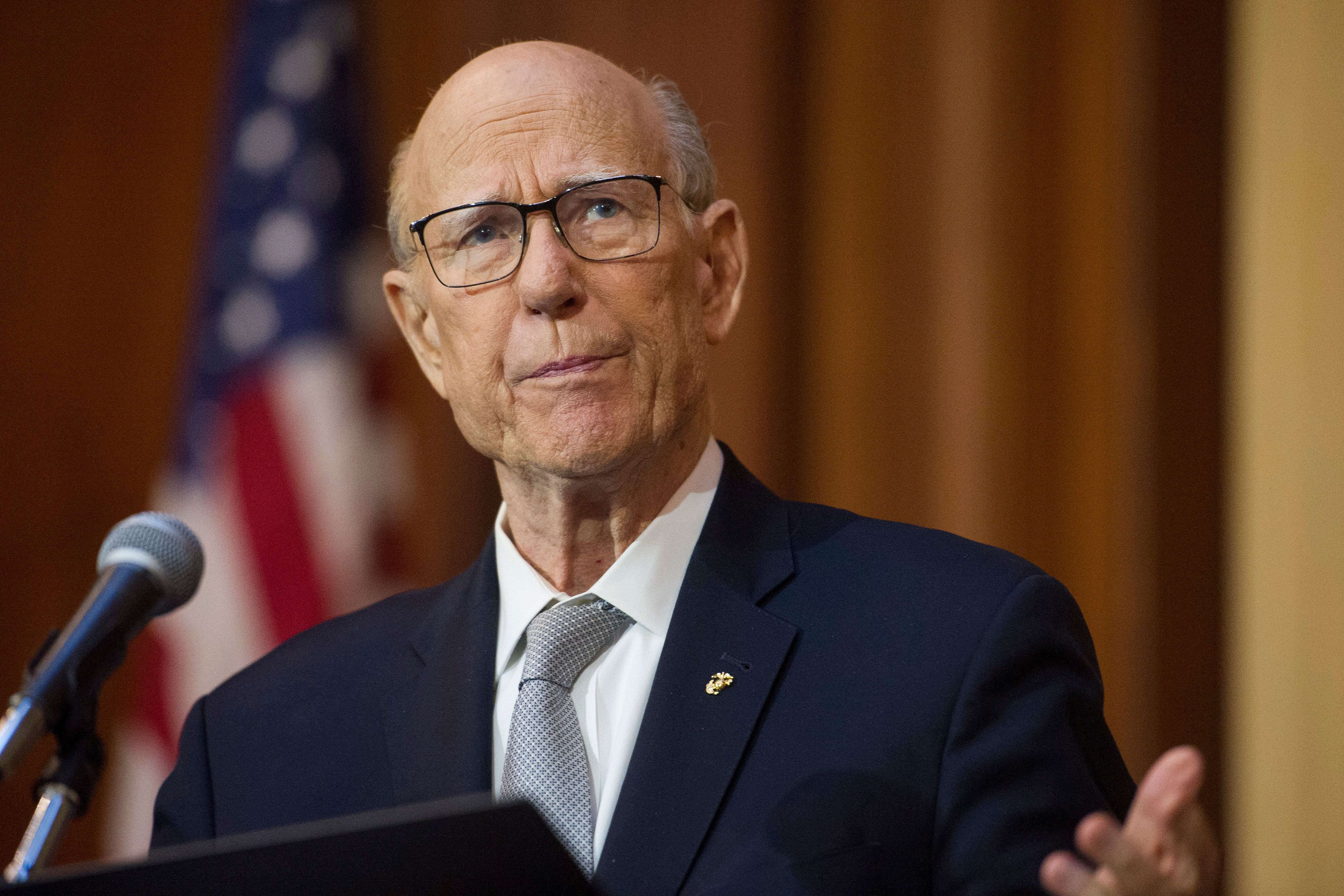 FILE - In this Dec. 11, 2018 file photo, Senate Agriculture Committe Chairman Pat Roberts, R-Kansas, speaks during the signing of an order withdrawing federal protections for countless waterways and wetlands, at EPA headquarters in Washington. The veteran Republican Senator is preparing to announce Friday whether he will seek re-election in 2020. (AP Photo/Cliff Owen, File)