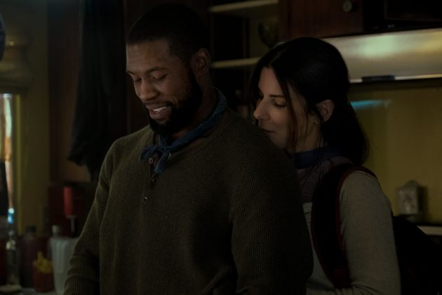 Trevante Rhodes and Sandra Bullock in