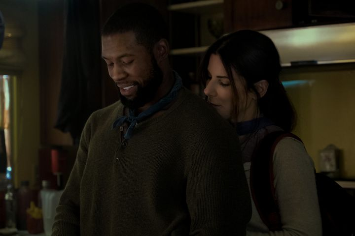 "Trevante Rhodes and Sandra Bullock in ""Bird Box."""