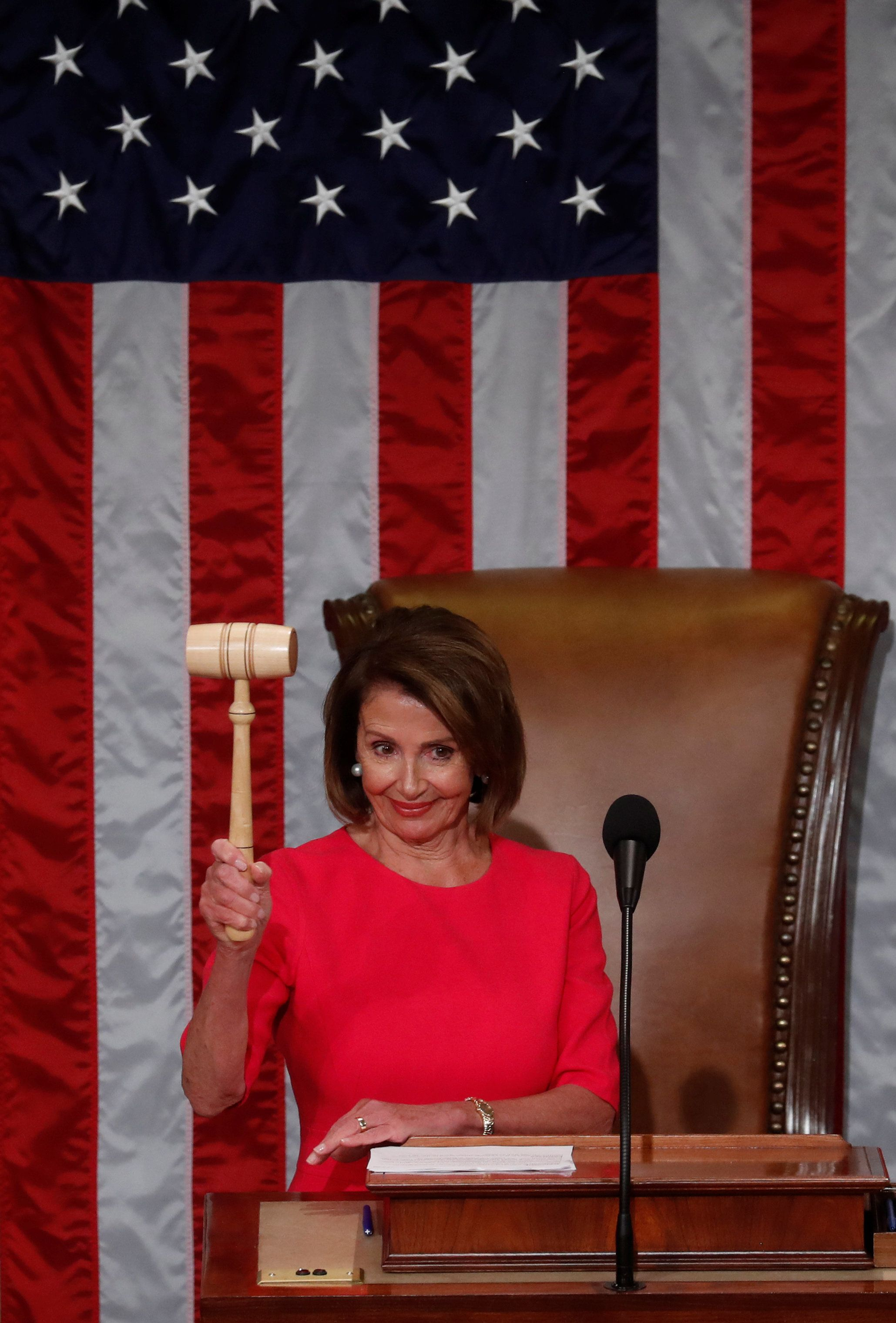 House Speaker-designate Nancy Pelosi (D-CA) holds the speaker's gavel after being elected speaker as the U.S. House of Representatives meets for the start of the 116th Congress inside the House Chamber on Capitol Hill in Washington, U.S., January 3, 2019 REUTERS/Leah Millis??