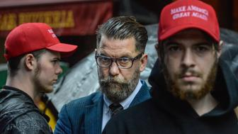 NEW YORK, NY - MAY 25: Activist Gavin McInnes takes part in an Alt Right protest of Muslim Activist Linda Sarsour on May 25, 2017 in New York City. (Photo by Stephanie Keith/Getty Images)