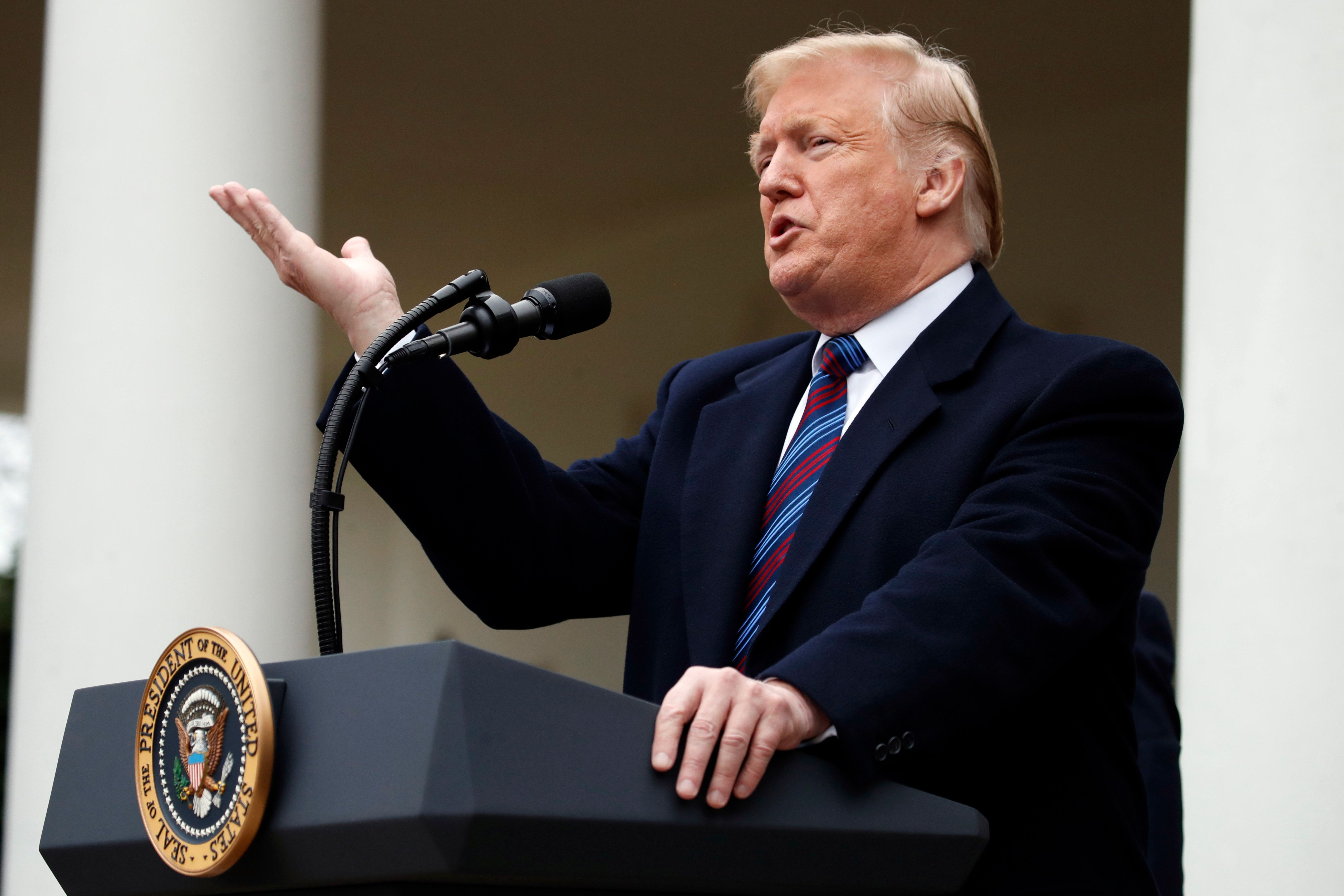 President Donald Trump speaks in the Rose Garden of the White House after a meeting with Congressional leaders on border security, Friday, Jan. 4, 2019, at the White House in Washington. (AP Photo/Jacquelyn Martin)