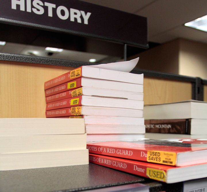 Student textbooks for rent sit on the shelves at the City College Bookstore in New York in 2010.