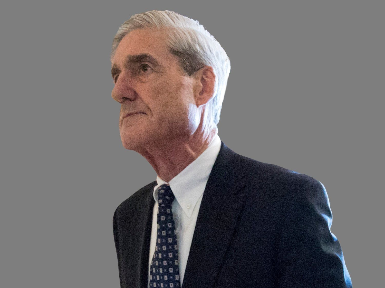 Robert Mueller headshot, former FBI director, graphic element on gray