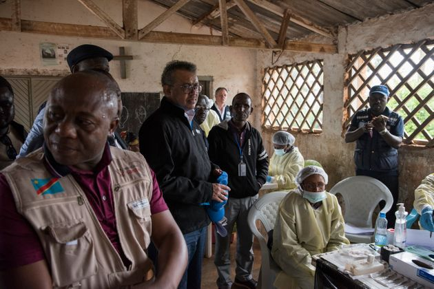 WHO Director-General Tedros Adhanom Ghebreyesus (center) visits a WHO Ebola vaccination team in Butembo...