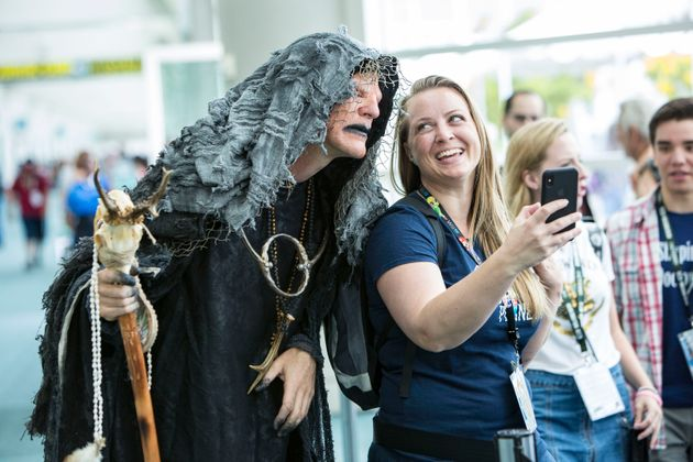 'The Seer' from the television show Vikings interacts with fans in a file