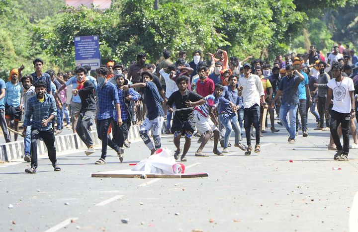 Protesters throw stones at police in Palakkad on 3 January. The large-scale violence the BJP unleashed in Kerala after two women entered Sabarimala has left it on the back foot.