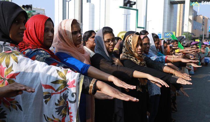 Women participate in the women's wall in Kerala on 1 January.